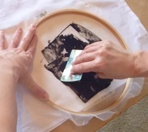 Embroidery hoop screen printing, swipe with card