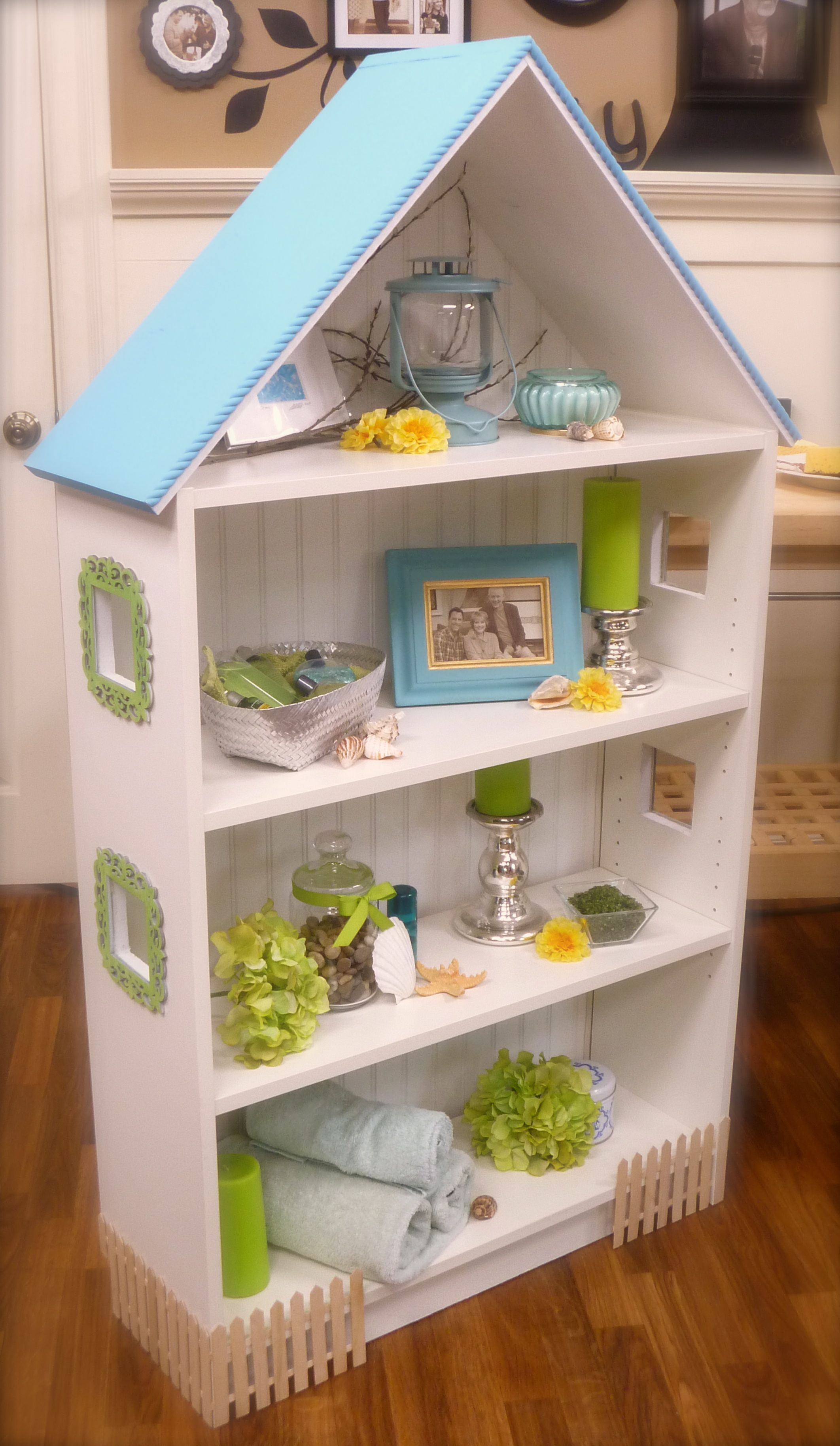 Dollhouse Bookcase Beach Cottage Brick Row House Cute