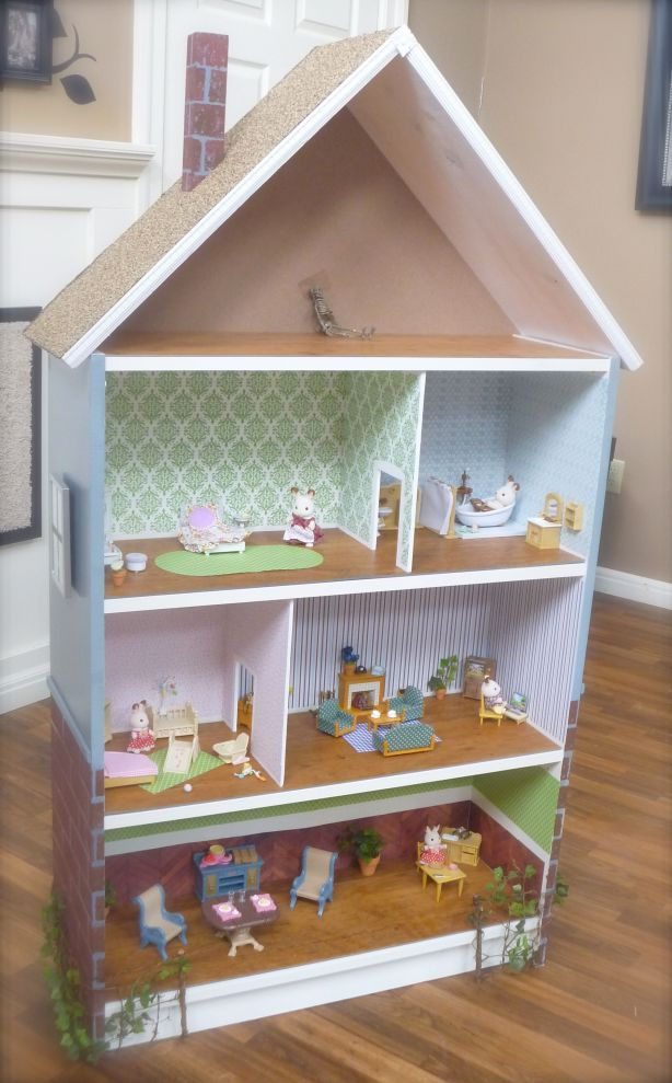 how to make a dollhouse out of a bookcase