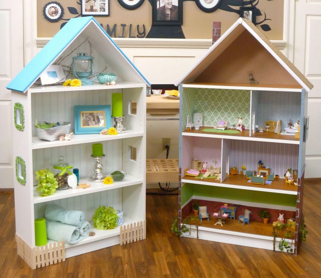 dit poppenhuis werd van een witte ikea billy boekenkast gemaakt er werd een schuin dak op gemaakt zodat het echt op een huis lijkt