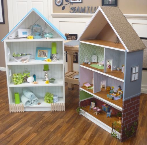Dollhouse Bookcase: Beach Cottage, Brick Row House
