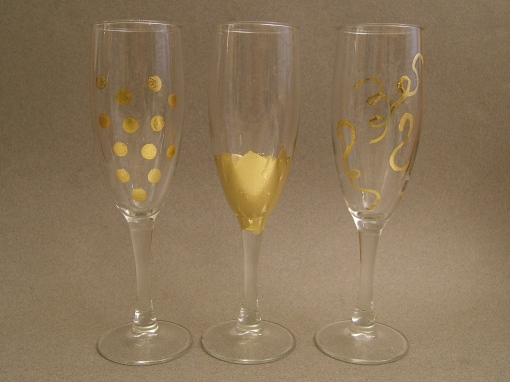 Three Gold Leafed Glasses