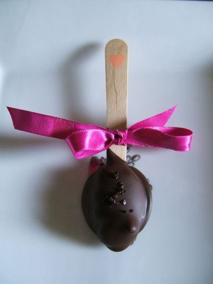Wooden spoon truffle with ribbon